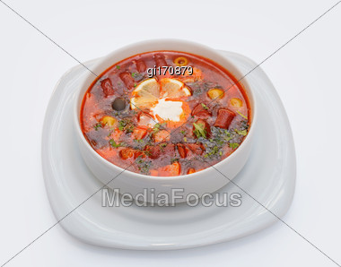 Soup With Meat. View From Above. Closeup Stock Photo