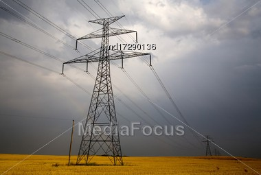 Storm Clouds Canada Rural Countryside Electrical Tower Stock Photo