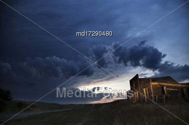 Storm Clouds Canada Rural Countryside Night Shot Stock Photo
