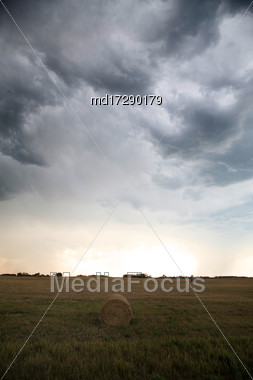 Storm Clouds Canada Rural Countryside Prairie Scene Stock Photo