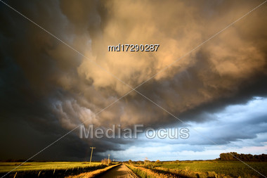 Storm Clouds Canada Rural Countryside Prairie Scene Sunset Stock Photo