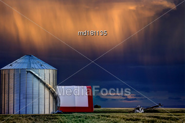 Storm Clouds Canada Warning Ominous Skies Saskatchewan Stock Photo