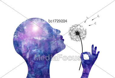 Stylized Watercolor Woman On White Background Blowing A Dandelion Stock Photo