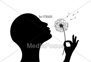 Stylized Woman On White Background Blowing A Dandelion Stock Photo
