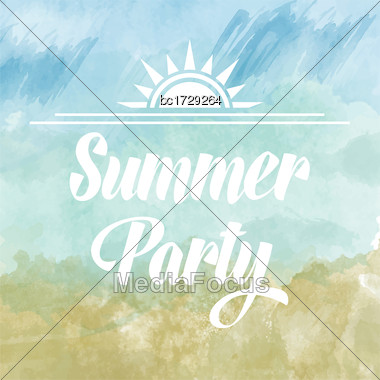 Summer Party Poster Om Watercolor Background, Vector Stock Photo