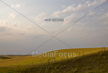 Summer Prairie Scene Canada Saskatchewan Harvest Time Stock Photo