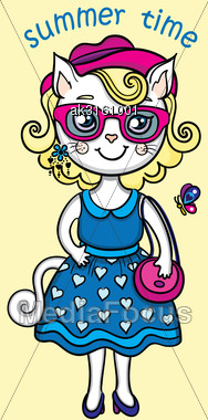 T-shirt Graphics With Cute Fashion Lady-cat In Summer Stock Photo