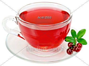 Tea In A Glass Cup, Berries And Green Leaves Cowberry Isolated On White Background Stock Photo