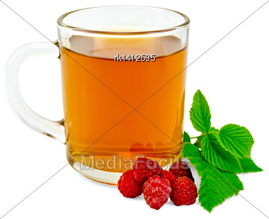 Tea In Glass Mug With Raspberry And Green Leaf Isolated On White Background Stock Photo