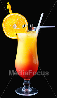 Tequila Sunrise Cocktail On A Black Background Stock Photo