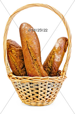 Three Rye Baguette In A Wicker Basket Isolated On White Background Stock Photo