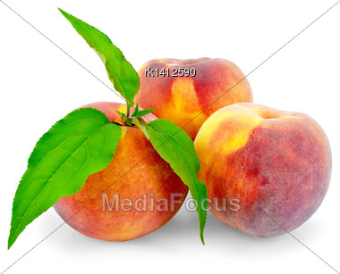 Three Whole Peaches, Green Leaves Isolated On White Background Stock Photo
