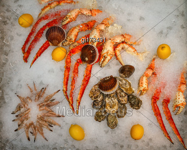 Tray With A Lot Of Type Of Seafood Stock Photo