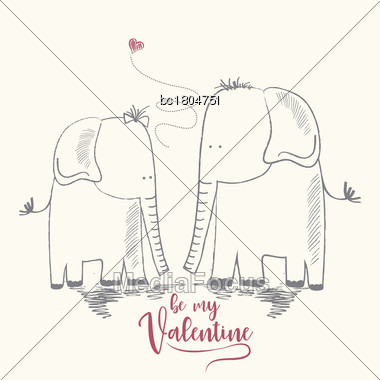 Two Enamored Elephants, Greeting Card Of Valentine's Day And Wedding, Vector Illustration Stock Photo