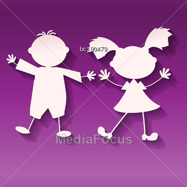 Two Kids, Girl And Boy, On Ultraviolet Background, Paper Art Style Vector Stock Photo