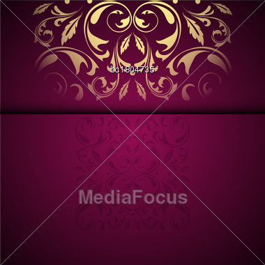 Vector Gold Oriental Arabesque Pattern Background With Place For Text. Garnet Color Stock Photo