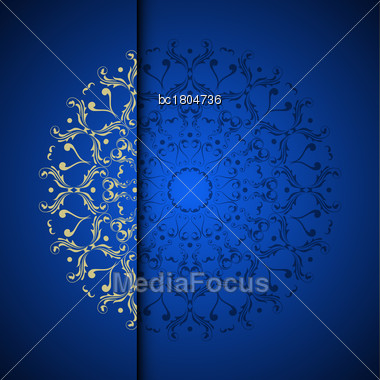Vector Gold Oriental Arabesque Pattern Background With Place For Text. Blue Color Stock Photo