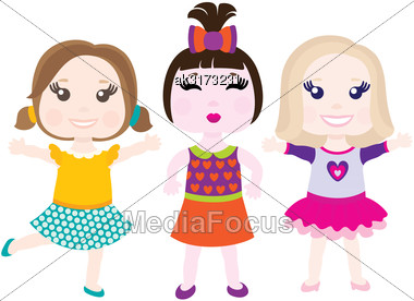 Vector Illustration Of Three Happy Cute Smiling Girls Stock Photo