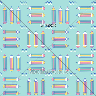 Vibrant Seamless Pattern With Pencils In Memphis Style, Vector Format Stock Photo