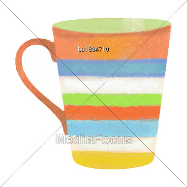 Watercolor Hand Drawn Coffee Or Tea Mug Isolated On White Background, Vector Format Stock Photo