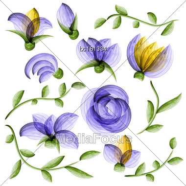 Watercolor Vector Floral Elements Suitable For Wedding Invitation Or Greeting Card Stock Photo