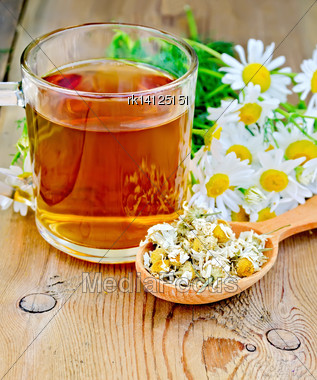 Wooden Spoon With Dried Chamomile Flowers, A Bouquet Of Fresh Flowers Of Chamomile Tea In Glass Mug On The Background Of Wooden Boards Stock Photo