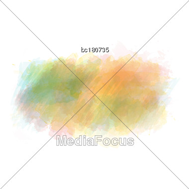 Yellow, Green And Orange Watercolor Painted Vector Stain Isolated On White Background, Vector Eps10 Stock Photo