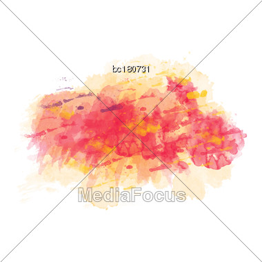 Yellow And Red Watercolor Painted Vector Stain Isolated On White Background, Vector Eps10 Stock Photo