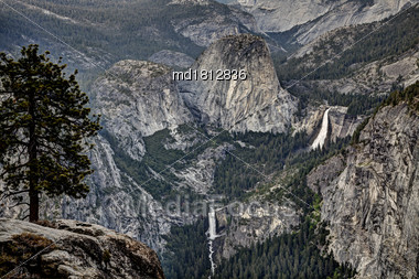 Yosemite Waterfall View California Valley Scenic Nature Stock Photo