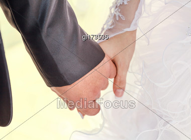 Young Married Couple Holding Hands, Ceremony Wedding Day Stock Photo