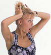 gestures expression new blonde female woman stock photo