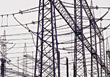 powerlines industrial wires voltage electricity industry stock photo