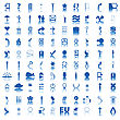 100 Blue Icons stock illustration