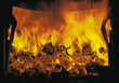flames hot fireplace burning stock photo