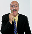 expression gestures surpirsed magnifying tie watch stock photo