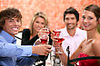 People Eating  2 Couples Enjoying Meal Together stock image