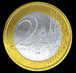 Union 2 Euro Coin: European Currency On Black. Large Resolution stock illustration