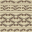 2 Vintage Borders And 2 Seamless Patterns, Fully Editable Eps 8 File With Clipping Masks, Brushes And Patterns In Swatch Menu Included