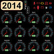 2014 Year Calendar Speedometer Car In Vector.