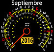 2016 Year Calendar Speedometer Car In Spanish, September. Vector Illustration