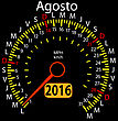 2016 Year Calendar Speedometer Car In Spanish, August. Vector Illustration