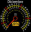 2016 Year Calendar Speedometer Car In Spanish, December. Vector Illustration