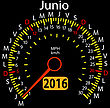 2016 Year Calendar Speedometer Car In Spanish, June. Vector Illustration