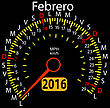 2016 Year Calendar Speedometer Car In Spanish, February. Vector Illustration