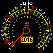 2016 Year Calendar Speedometer Car In Spanish, July. Vector Illustration