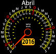 2016 Year Calendar Speedometer Car In Spanish, April. Vector Illustration