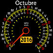 2016 Year Calendar Speedometer Car In Spanish, October. Vector Illustration
