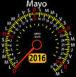 2016 Year Calendar Speedometer Car In Spanish, May. Vector Illustration