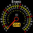 2016 Year Calendar Speedometer Car In Spanish, January. Vector Illustration