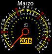2016 Year Calendar Speedometer Car In Spanish, March. Vector Illustration